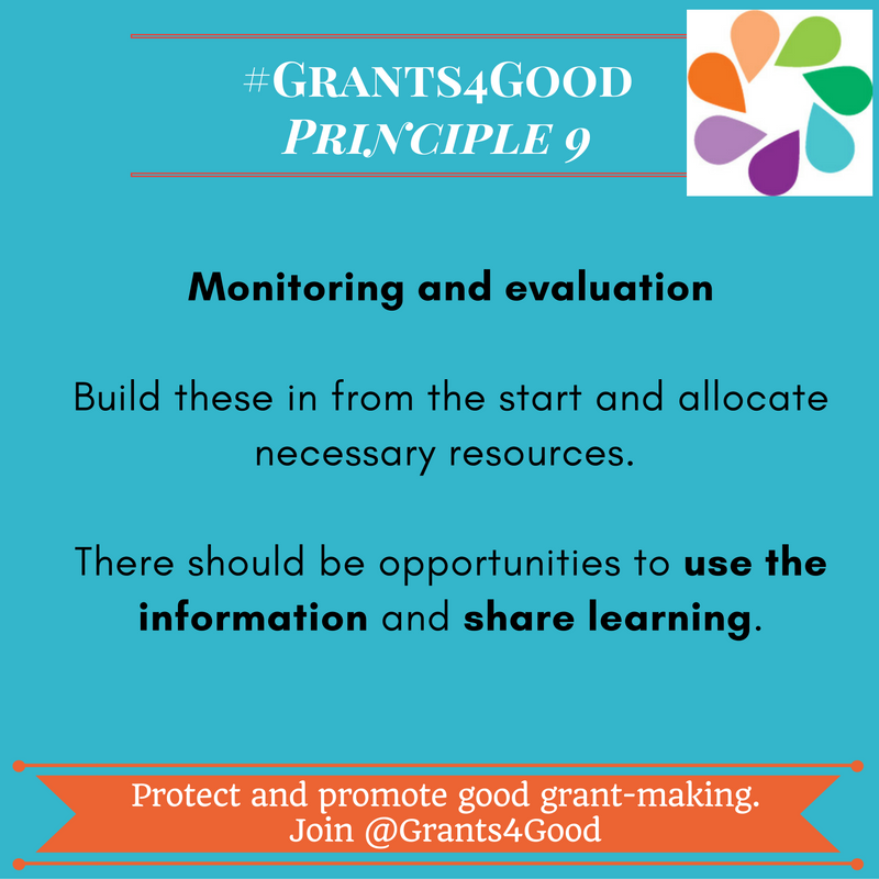 Principles of Good Grant Making - monitoring and evaluation