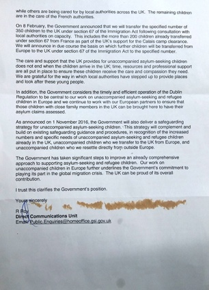 Home Office letter regarding Dubs Scheme - page 2