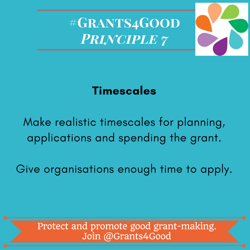 Principles of Good Grant Making - timescales