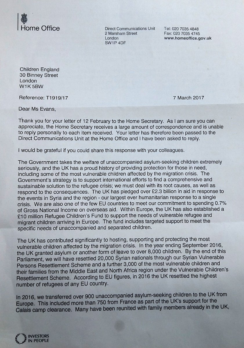 Home Office letter regarding Dubs Scheme