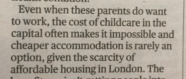 Evening Standard letter - impact of benefit cap