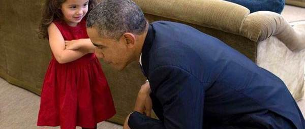 Little girl talking to the president