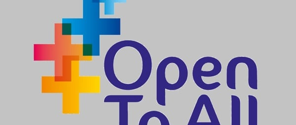 Open To All logo - grey background