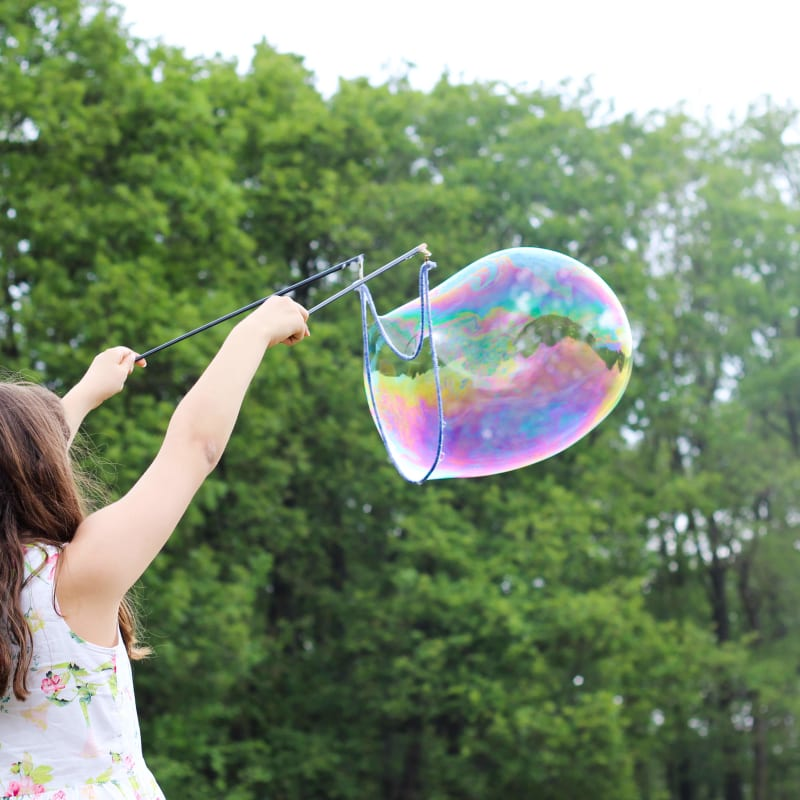 Little girl with bubble